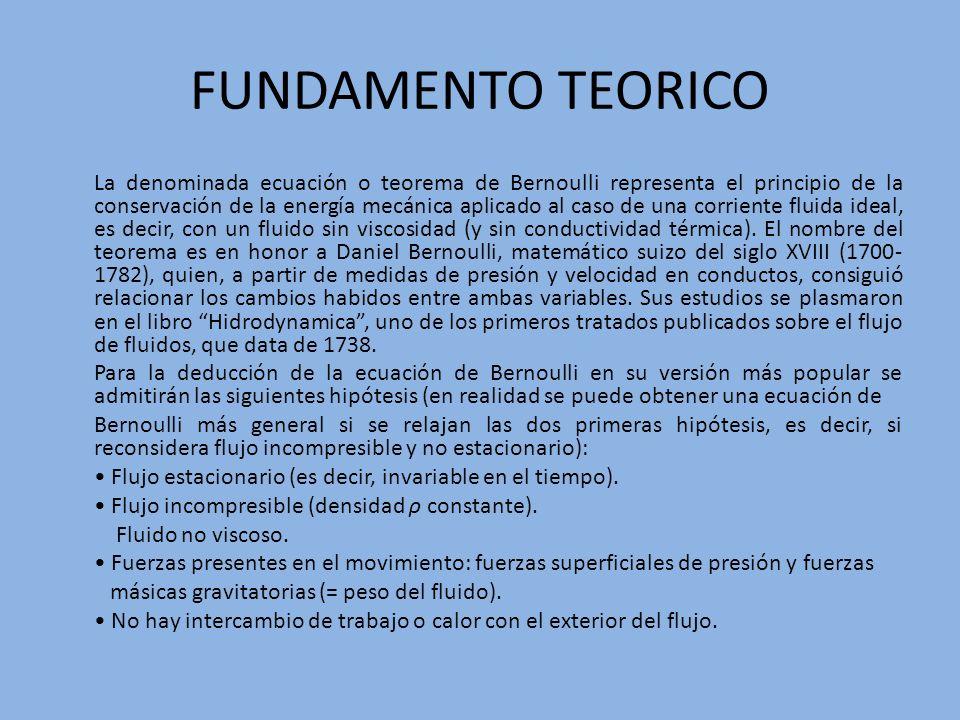 FUNDAMENTO TEORICO La denominada ecuación o teorema de Bernoulli representa el principio de la conservación de la energía mecánica aplicado al caso de