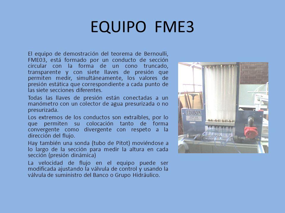 EQUIPO FME3 El equipo de demostración del teorema de Bernoulli, FME03, está formado por un conducto de sección circular con la forma de un cono trunca