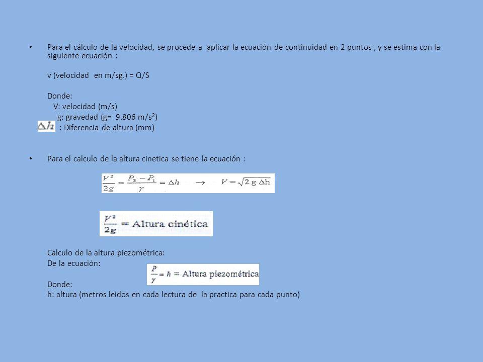 Para el cálculo de la velocidad, se procede a aplicar la ecuación de continuidad en 2 puntos, y se estima con la siguiente ecuación : v (velocidad en