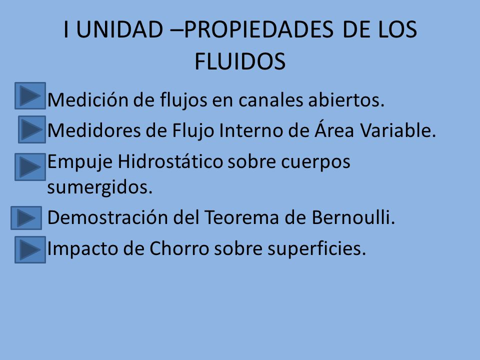 I UNIDAD –PROPIEDADES DE LOS FLUIDOS Medición de flujos en canales abiertos. Medidores de Flujo Interno de Área Variable. Empuje Hidrostático sobre cu