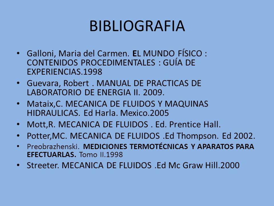 BIBLIOGRAFIA Galloni, Maria del Carmen. EL MUNDO FÍSICO : CONTENIDOS PROCEDIMENTALES : GUÍA DE EXPERIENCIAS.1998 Guevara, Robert. MANUAL DE PRACTICAS