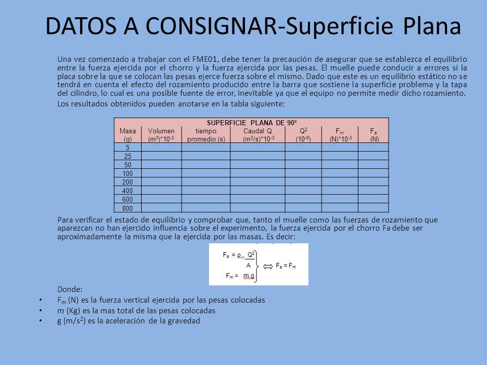 DATOS A CONSIGNAR-Superficie Plana Una vez comenzado a trabajar con el FME01, debe tener la precaución de asegurar que se establezca el equilibrio ent
