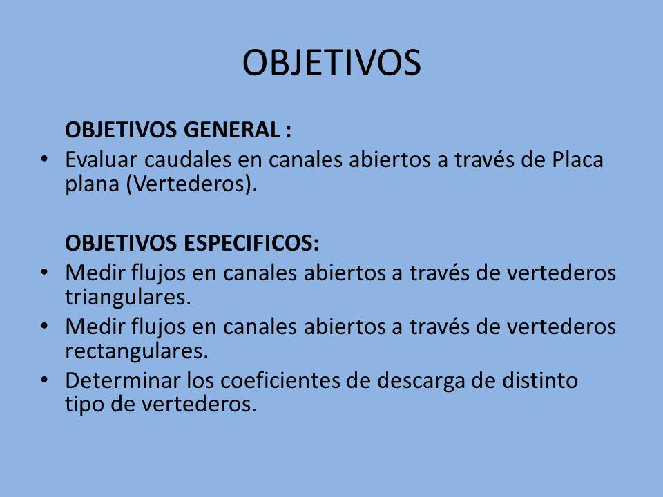 OBJETIVOS OBJETIVOS GENERAL : Evaluar caudales en canales abiertos a través de Placa plana (Vertederos). OBJETIVOS ESPECIFICOS: Medir flujos en canale