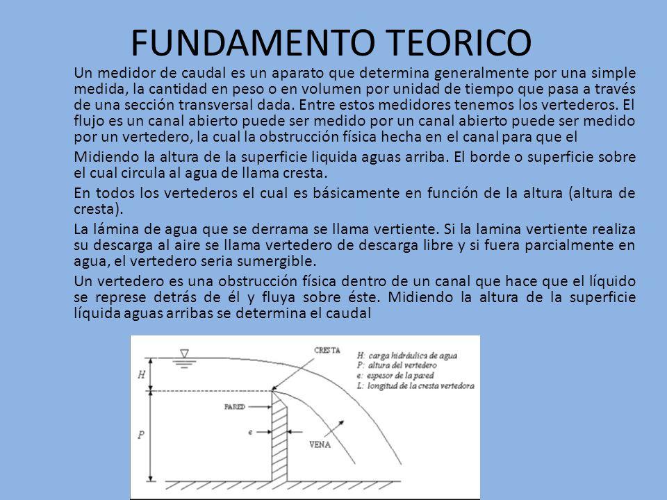 FUNDAMENTO TEORICO Un medidor de caudal es un aparato que determina generalmente por una simple medida, la cantidad en peso o en volumen por unidad de