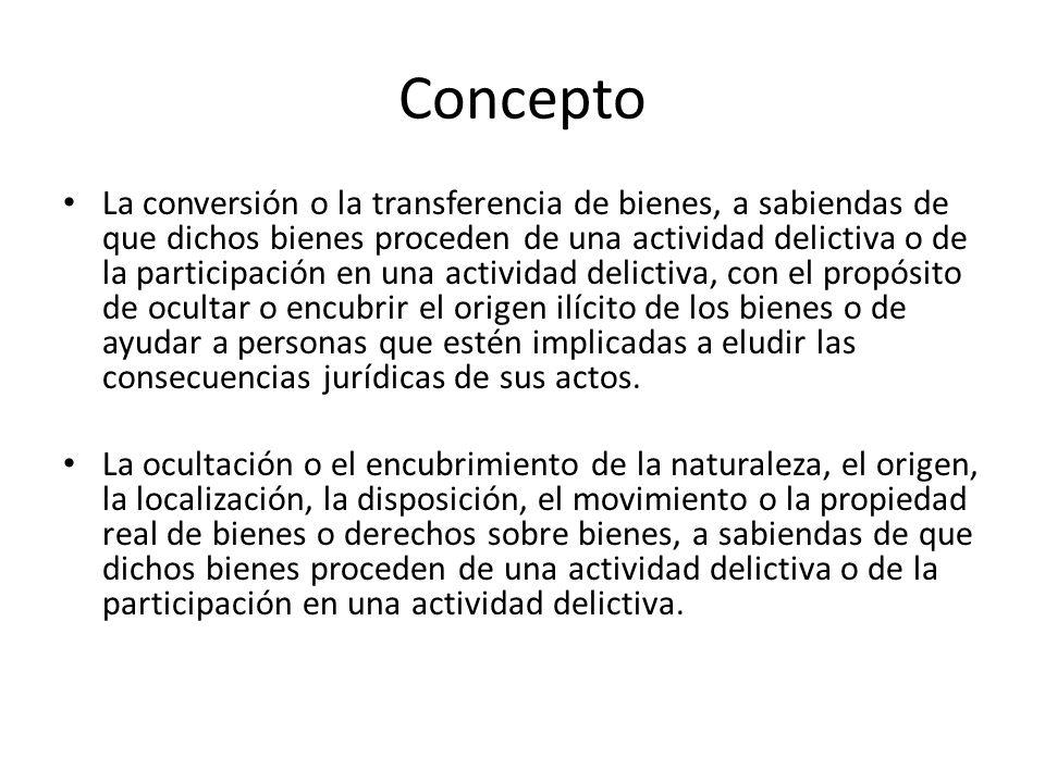 Concepto La conversión o la transferencia de bienes, a sabiendas de que dichos bienes proceden de una actividad delictiva o de la participación en una