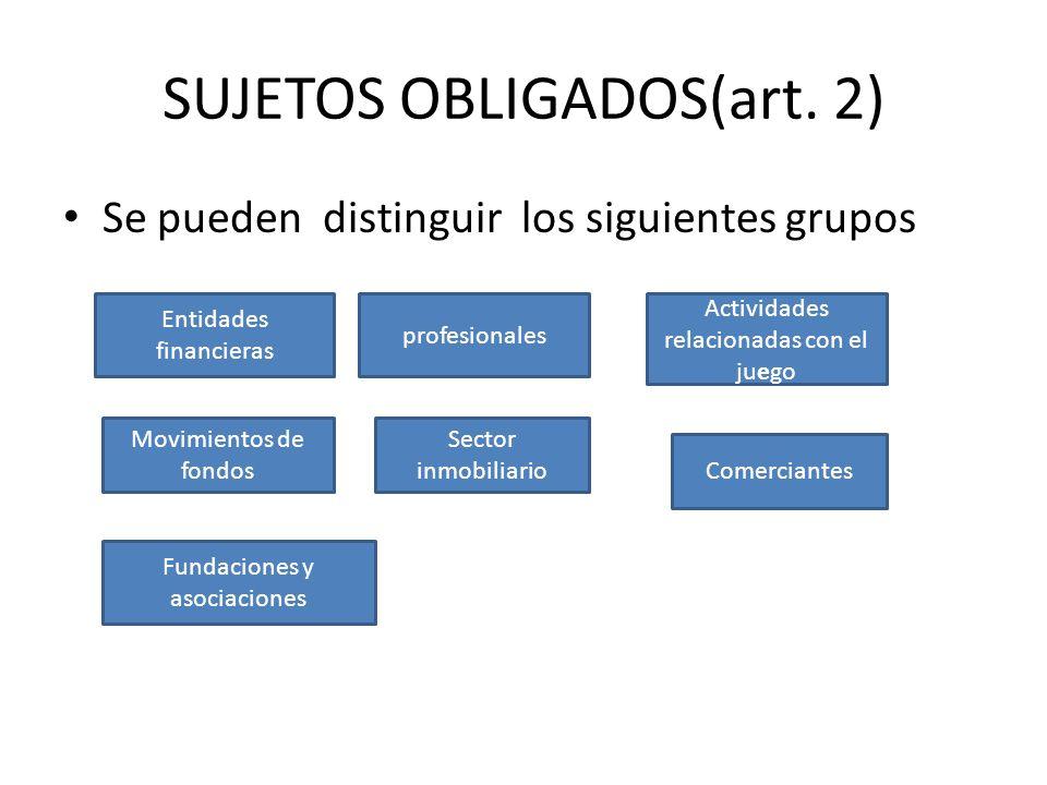 SUJETOS OBLIGADOS(art. 2) Se pueden distinguir los siguientes grupos Entidades financieras profesionales Movimientos de fondos Sector inmobiliario Act
