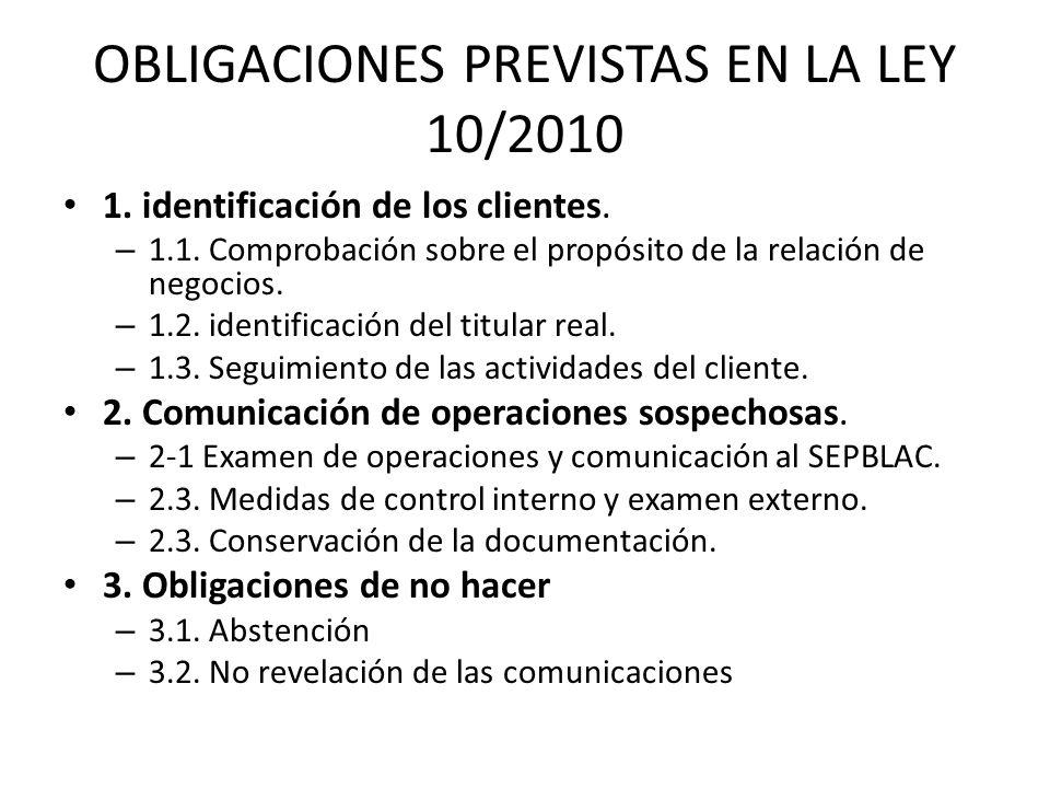 OBLIGACIONES PREVISTAS EN LA LEY 10/2010 1. identificación de los clientes. – 1.1. Comprobación sobre el propósito de la relación de negocios. – 1.2.