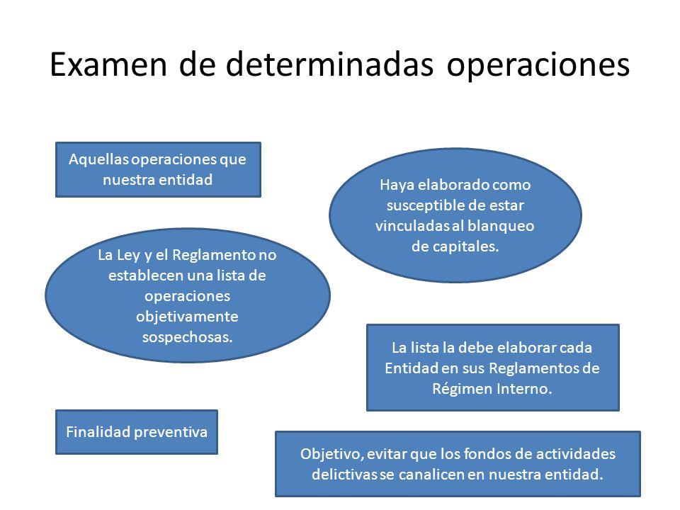 Examen de determinadas operaciones Aquellas operaciones que nuestra entidad Haya elaborado como susceptible de estar vinculadas al blanqueo de capital