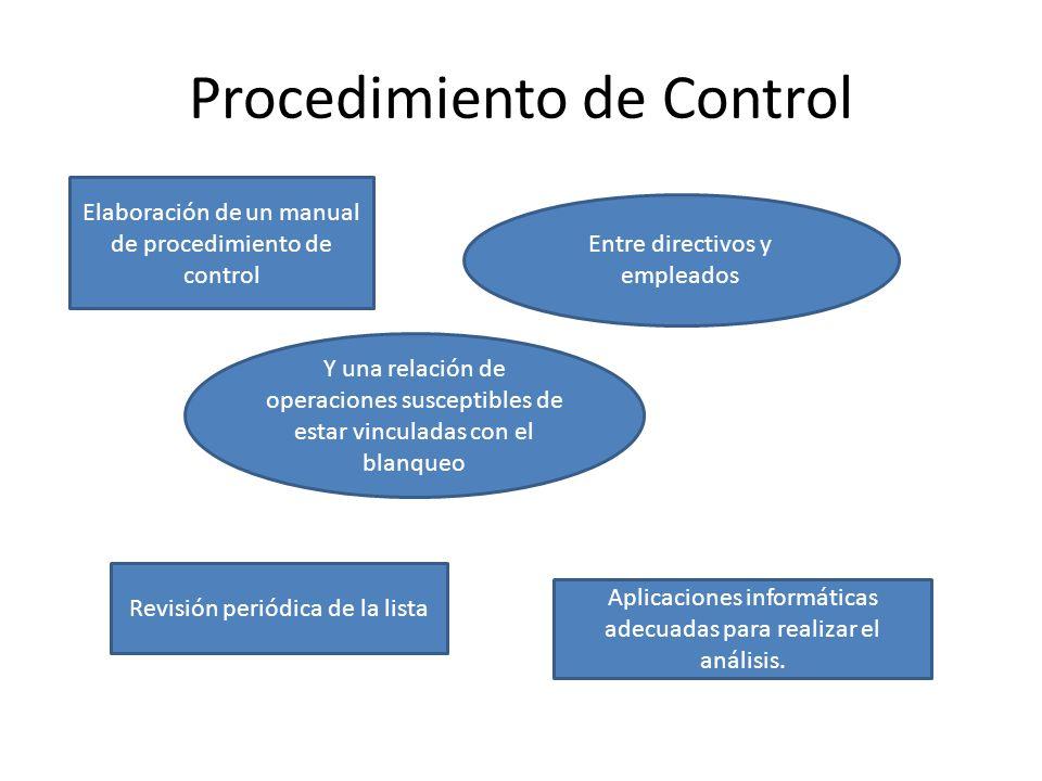Procedimiento de Control Elaboración de un manual de procedimiento de control Entre directivos y empleados Y una relación de operaciones susceptibles