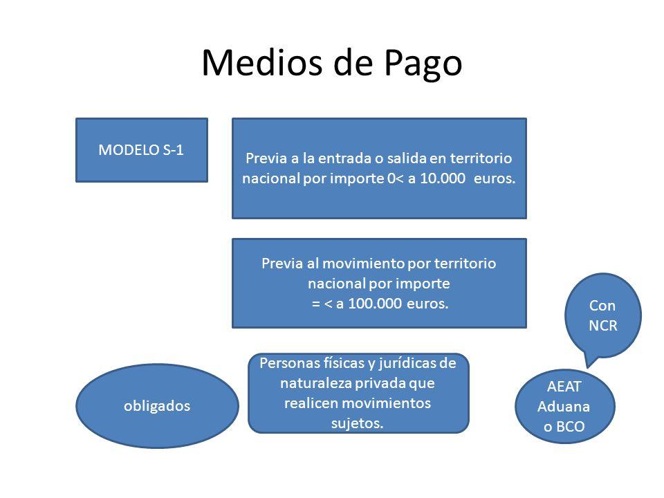 Medios de Pago MODELO S-1 Previa a la entrada o salida en territorio nacional por importe 0< a 10.000 euros. Previa al movimiento por territorio nacio
