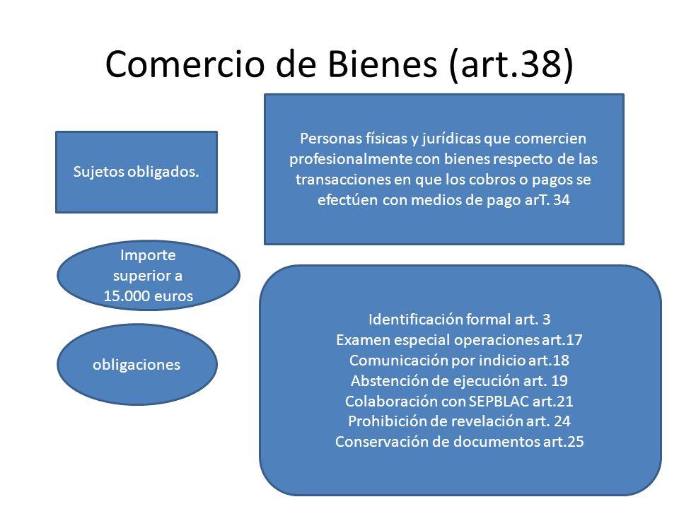 Comercio de Bienes (art.38) Sujetos obligados. Personas físicas y jurídicas que comercien profesionalmente con bienes respecto de las transacciones en