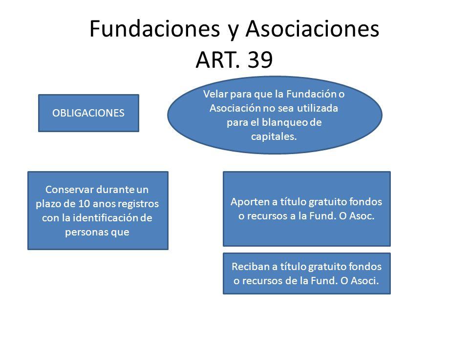 Fundaciones y Asociaciones ART. 39 OBLIGACIONES Velar para que la Fundación o Asociación no sea utilizada para el blanqueo de capitales. Conservar dur