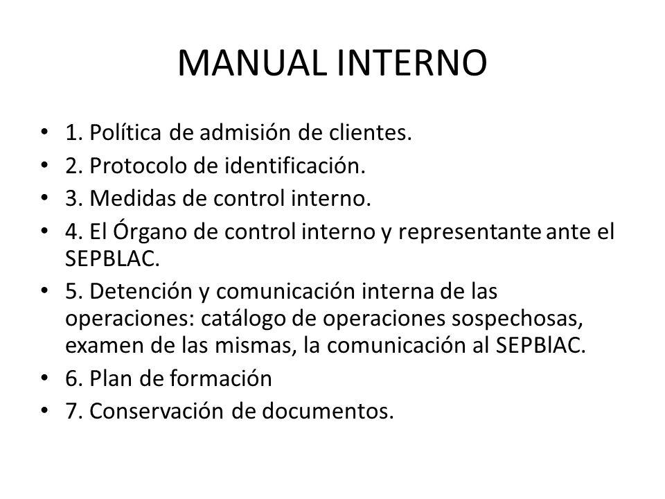 MANUAL INTERNO 1. Política de admisión de clientes. 2. Protocolo de identificación. 3. Medidas de control interno. 4. El Órgano de control interno y r
