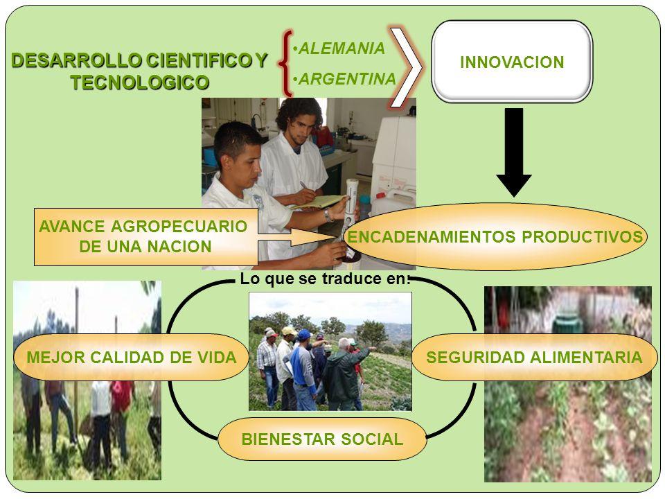 SEGURIDAD ALIMENTARIA DESARROLLO CIENTIFICO Y TECNOLOGICO ALEMANIA ARGENTINA INNOVACION ENCADENAMIENTOS PRODUCTIVOS AVANCE AGROPECUARIO DE UNA NACION