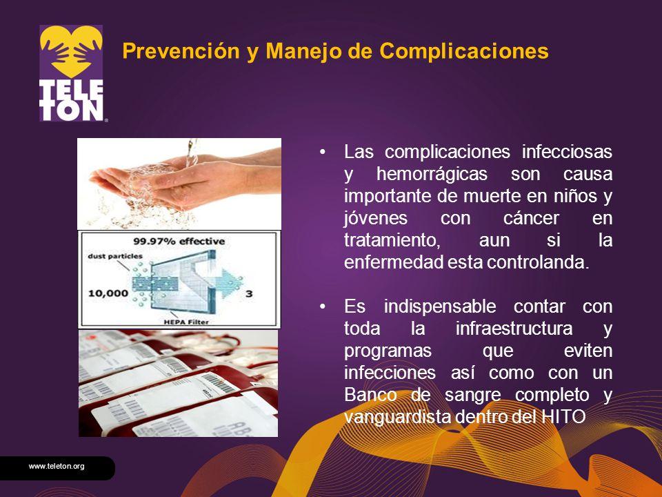 www.teleton.org Prevención y Manejo de Complicaciones Las complicaciones infecciosas y hemorrágicas son causa importante de muerte en niños y jóvenes