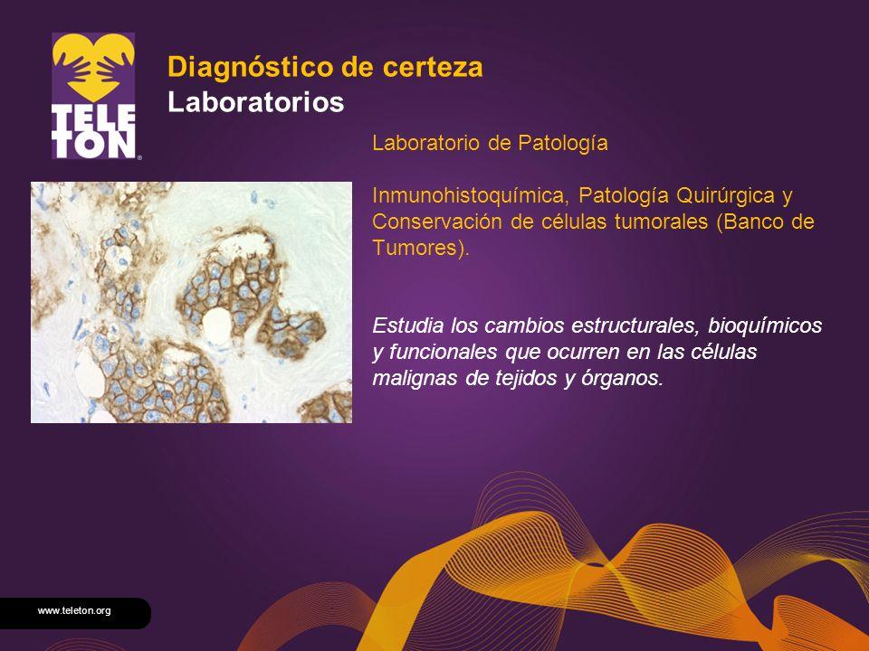www.teleton.org Diagnóstico de certeza Laboratorios Laboratorio de Patología Inmunohistoquímica, Patología Quirúrgica y Conservación de células tumora