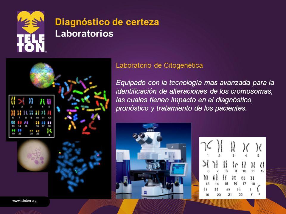 www.teleton.org Diagnóstico de certeza Laboratorios Laboratorio de Citogenética Equipado con la tecnología mas avanzada para la identificación de alte