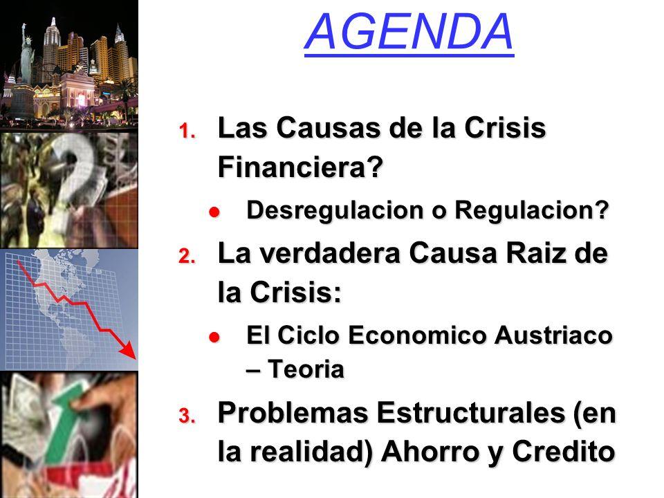 AGENDA 1. Las Causas de la Crisis Financiera. Desregulacion o Regulacion.