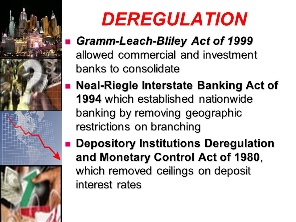 DEREGULATION Gramm-Leach-Bliley Act of 1999 allowed commercial and investment banks to consolidate Gramm-Leach-Bliley Act of 1999 allowed commercial and investment banks to consolidate Neal-Riegle Interstate Banking Act of 1994 which established nationwide banking by removing geographic restrictions on branching Neal-Riegle Interstate Banking Act of 1994 which established nationwide banking by removing geographic restrictions on branching Depository Institutions Deregulation and Monetary Control Act of 1980, which removed ceilings on deposit interest rates Depository Institutions Deregulation and Monetary Control Act of 1980, which removed ceilings on deposit interest rates
