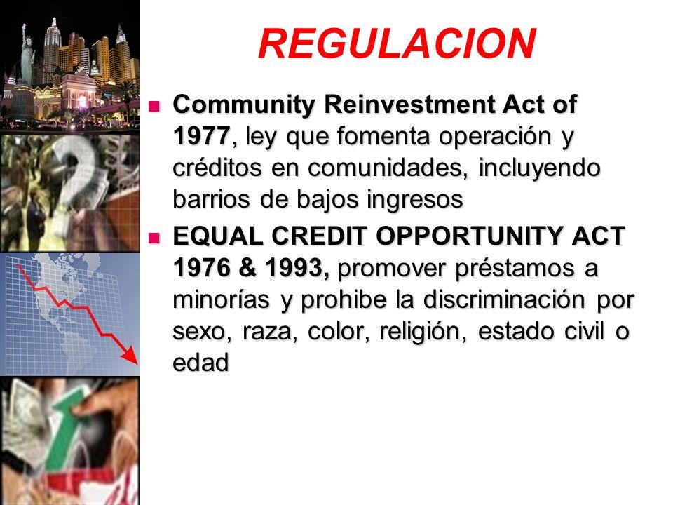 REGULACION Community Reinvestment Act of 1977, ley que fomenta operación y créditos en comunidades, incluyendo barrios de bajos ingresos Community Reinvestment Act of 1977, ley que fomenta operación y créditos en comunidades, incluyendo barrios de bajos ingresos EQUAL CREDIT OPPORTUNITY ACT 1976 & 1993, promover préstamos a minorías y prohibe la discriminación por sexo, raza, color, religión, estado civil o edad EQUAL CREDIT OPPORTUNITY ACT 1976 & 1993, promover préstamos a minorías y prohibe la discriminación por sexo, raza, color, religión, estado civil o edad