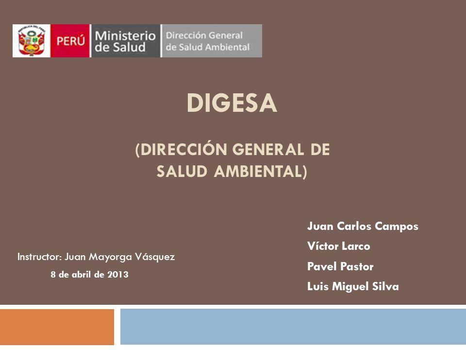 DIGESA (DIRECCIÓN GENERAL DE SALUD AMBIENTAL) Juan Carlos Campos Víctor Larco Pavel Pastor Luis Miguel Silva 8 de abril de 2013 Instructor: Juan Mayorga Vásquez