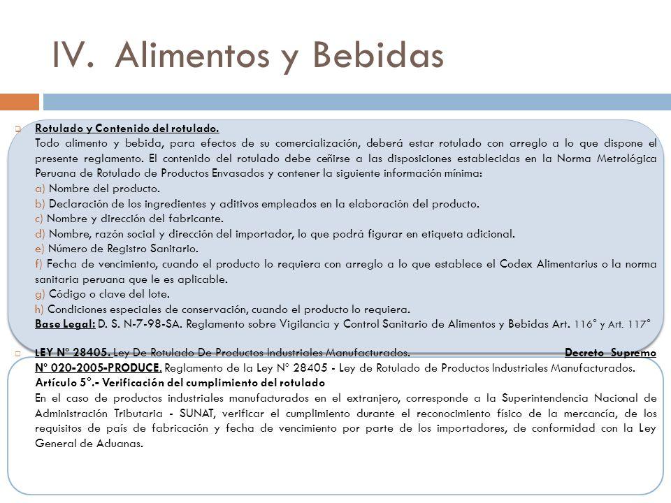 IV.Alimentos y Bebidas Rotulado y Contenido del rotulado.