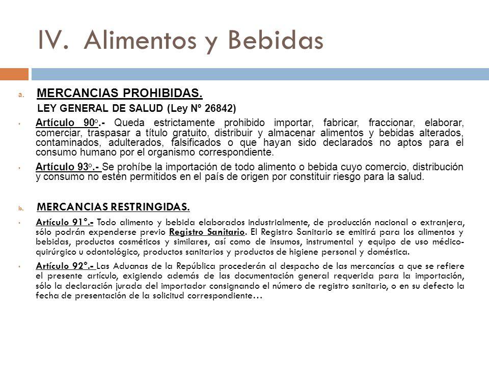 IV.Alimentos y Bebidas a.MERCANCIAS PROHIBIDAS.