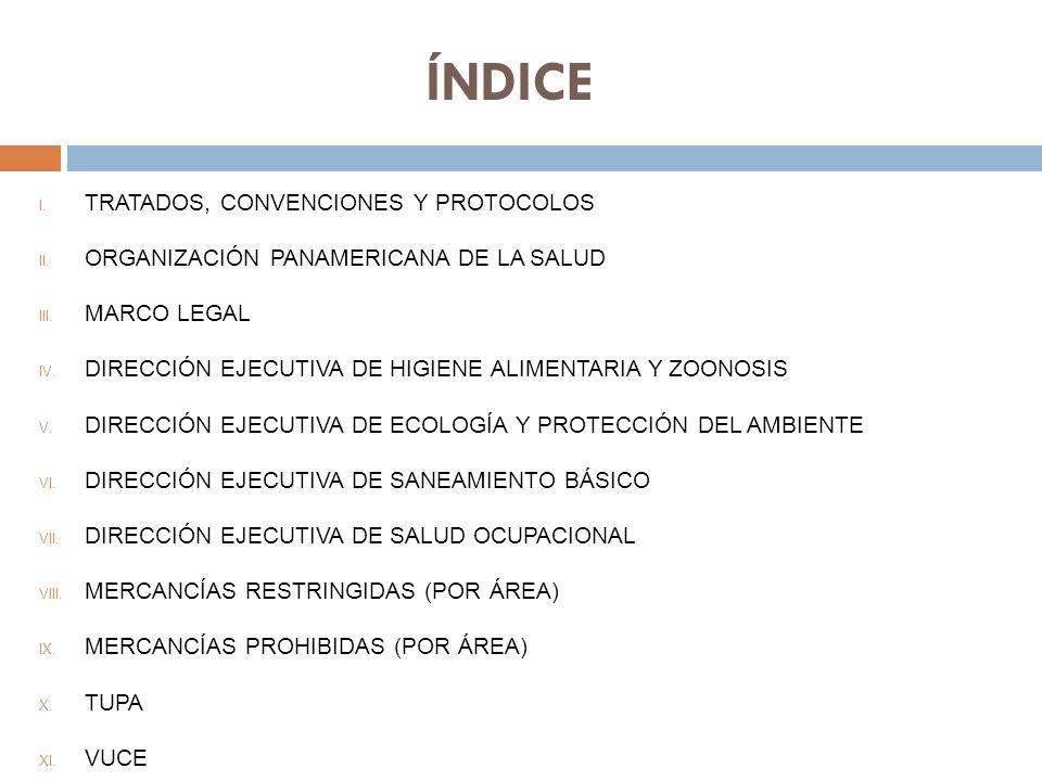 ÍNDICE I.TRATADOS, CONVENCIONES Y PROTOCOLOS II. ORGANIZACIÓN PANAMERICANA DE LA SALUD III.