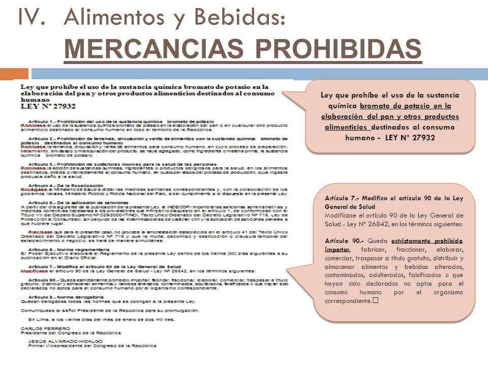 """Ley que prohíbe el uso de la sustancia química bromato de potasio en la elaboración del pan y otros productos alimenticios destinados al consumo humano - LEY Nº 27932 Artículo 7.- Modifica el artículo 90 de la Ley General de Salud Modifícase el artículo 90 de la Ley General de Salud - Ley Nº 26842, en los términos siguientes: Artículo 90.- Queda estrictamente prohibido importar, fabricar, fraccionar, elaborar, comerciar, traspasar a título gratuito, distribuir y almacenar alimentos y bebidas alterados, contaminados, adulterados, falsificados o que hayan sido declarados no aptos para el consumo humano por el organismo correspondiente."""" Artículo 7.- Modifica el artículo 90 de la Ley General de Salud Modifícase el artículo 90 de la Ley General de Salud - Ley Nº 26842, en los términos siguientes: Artículo 90.- Queda estrictamente prohibido importar, fabricar, fraccionar, elaborar, comerciar, traspasar a título gratuito, distribuir y almacenar alimentos y bebidas alterados, contaminados, adulterados, falsificados o que hayan sido declarados no aptos para el consumo humano por el organismo correspondiente."""" IV.Alimentos y Bebidas: MERCANCIAS PROHIBIDAS"""