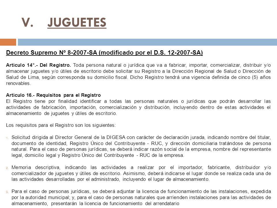 V.JUGUETES Decreto Supremo Nº 8-2007-SA (modificado por el D.S.