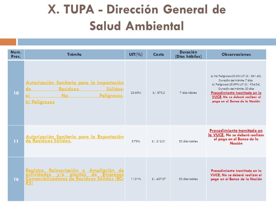 X.TUPA - Dirección General de Salud Ambiental Num.