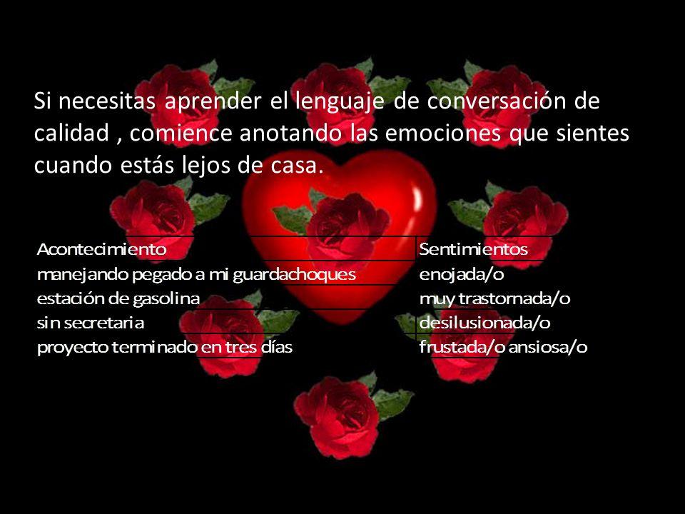 Si necesitas aprender el lenguaje de conversación de calidad, comience anotando las emociones que sientes cuando estás lejos de casa.