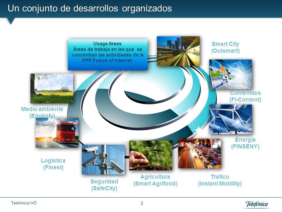 Telefonica I+D Un conjunto de desarrollos organizados 2 Usage Areas Áreas de trabajo en las que se concentran las actividades de la PPP Future of Internet.