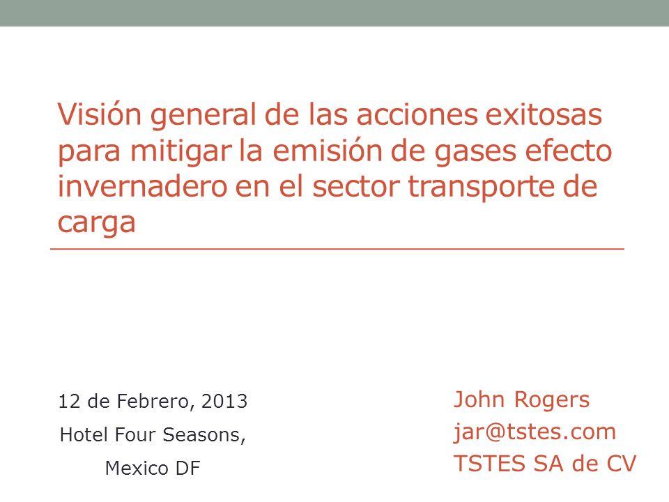 Visión general de las acciones exitosas para mitigar la emisión de gases efecto invernadero en el sector transporte de carga John Rogers jar@tstes.com