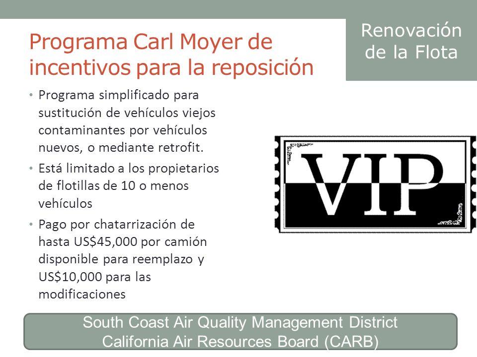 Programa Carl Moyer de incentivos para la reposición Programa simplificado para sustitución de vehículos viejos contaminantes por vehículos nuevos, o