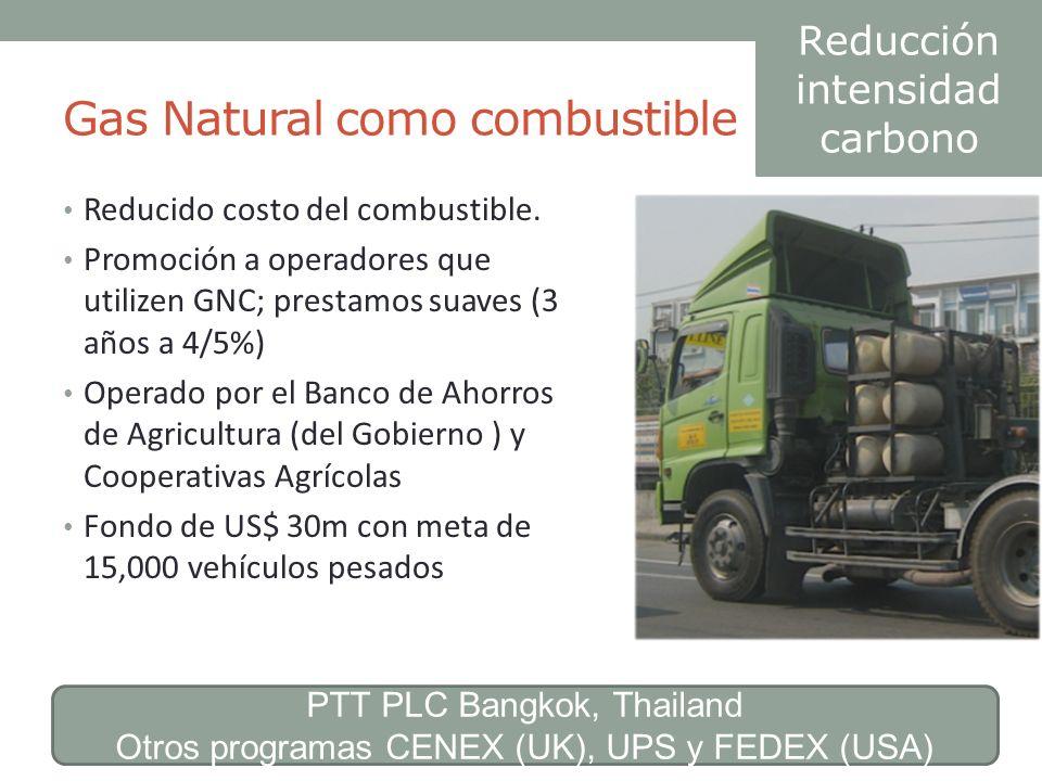 Gas Natural como combustible Reducido costo del combustible. Promoción a operadores que utilizen GNC; prestamos suaves (3 años a 4/5%) Operado por el
