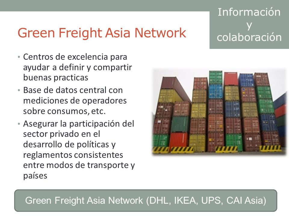 Green Freight Asia Network Centros de excelencia para ayudar a definir y compartir buenas practicas Base de datos central con mediciones de operadores