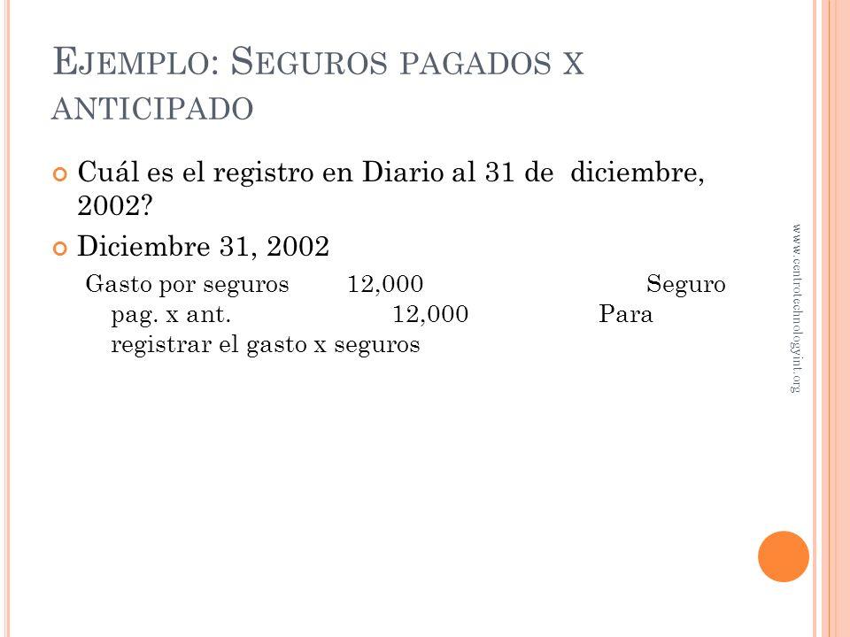 24,000 EfectivoSeguro pagado x anticipado 24,000 E JEMPLO : S EGUROS PAGADOS X ANTICIPADO En enero 2, 2002, Pisos El Pino pagó $24,000 por una póliza