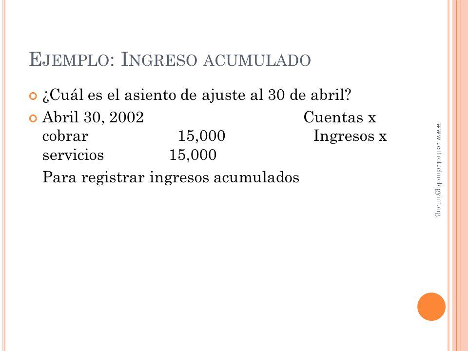 E JEMPLO : I NGRESO ACUMULADO Durante abril, Servicios Continentales prestó servicios a clientes por un total de $15,000. A fin de mes, los servicios