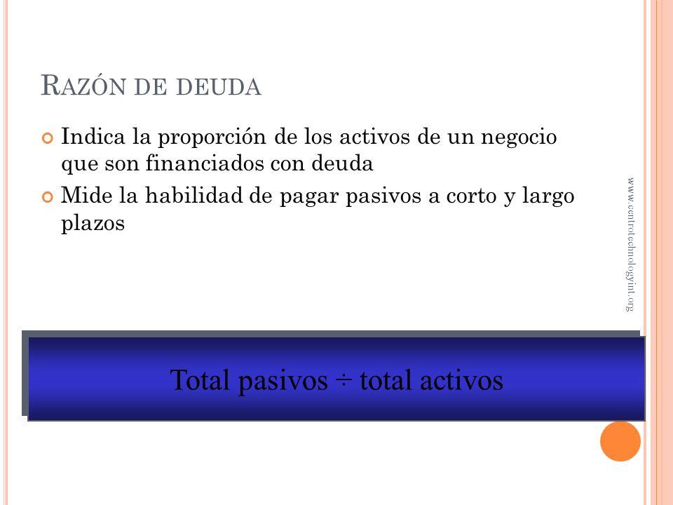 Razón circulante = activos circulantes ÷ pasivos a corto plazo R AZÓN CIRCULANTE Mide la habilidad del negocio para pagar sus deudas a corto plazo, ut