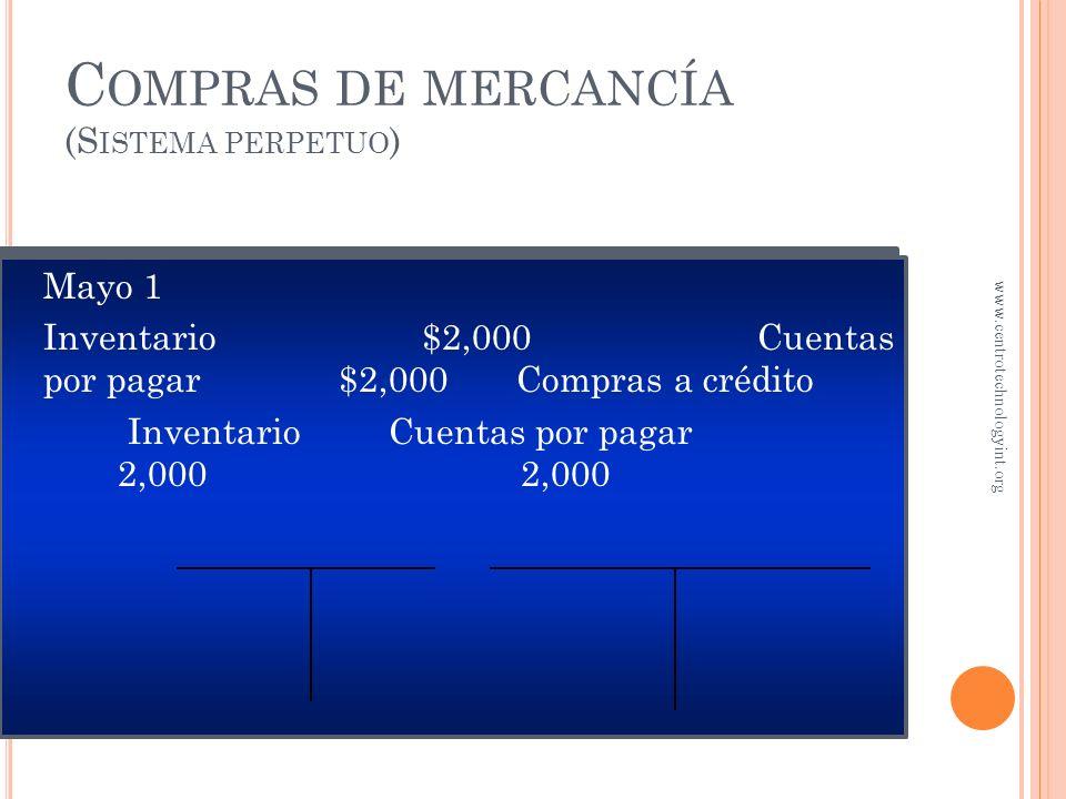 C OMPRAS DE MERCANCÍA En mayo 1, la tienda Sports adquiere a cuenta $2,000 en mercancía. El proveedor manda la mercancía junto con la factura especifi