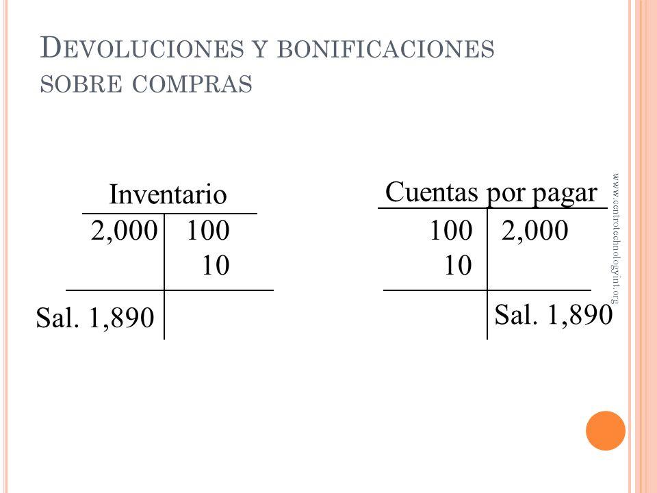 D EVOLUCIONES Y BONIFICACIONES SOBRE COMPRAS Asuma que uno de los artículos recibidos está ligeramente dañado y que el proveedor otorga $10 de bonific
