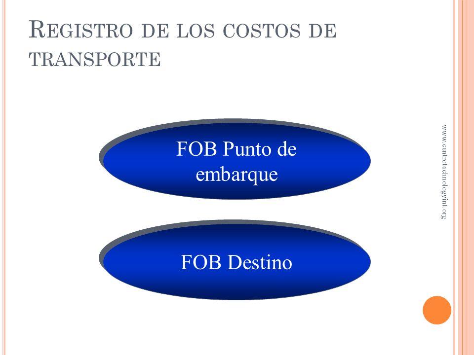 R EGISTRO DE COSTOS DE TRANSPORTE Los costos de transporte son los costos de mover el inventario del proveedor al vendedor FOB significa Free on Board