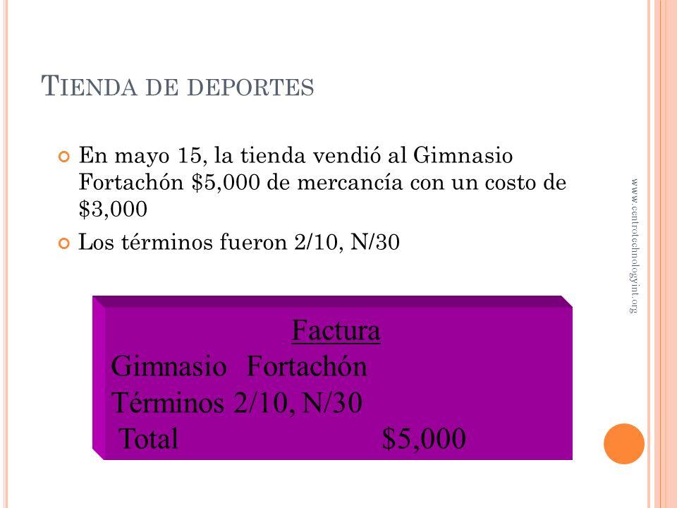 T IENDA DE DEPORTES Mayo 11 Efectivo 2,600 Ingresos por ventas 2,600 Registro de ventas de mercancía Mayo 11 Efectivo 2,600 Ingresos por ventas 2,600