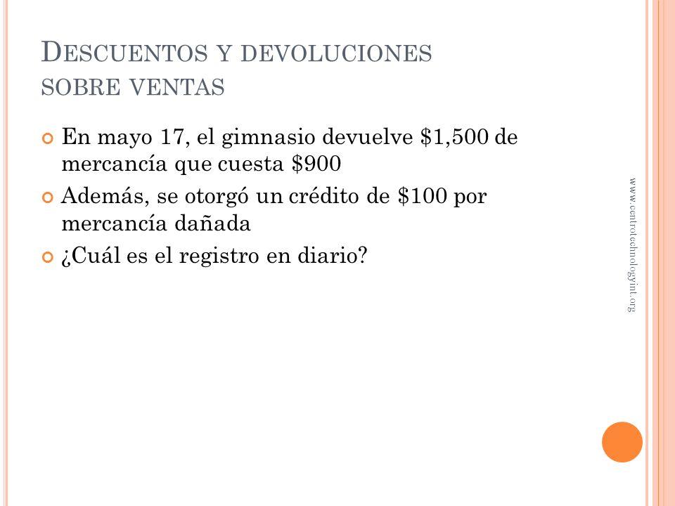 T IENDA DE DEPORTES En mayo 15, la tienda vendió al Gimnasio Fortachón $5,000 de mercancía con un costo de $3,000 Los términos fueron 2/10, N/30 Factu