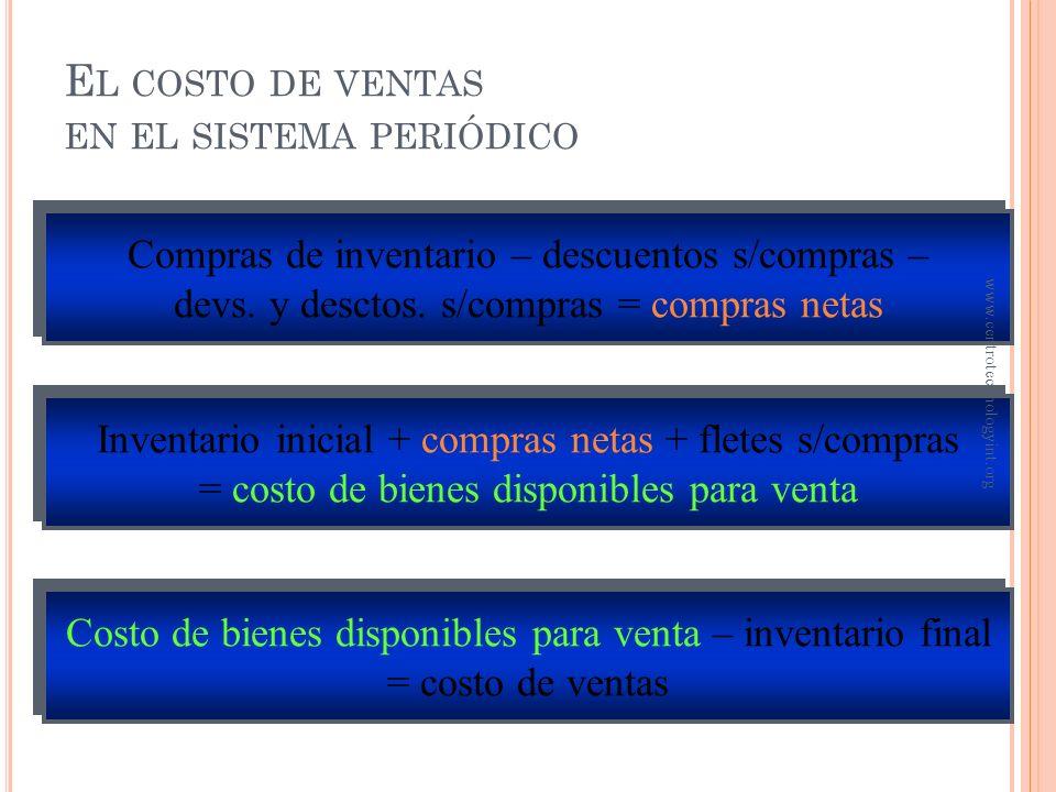 O BJETIVO 6 Cálculo del costo de ventas www.centrotechnologyint.org