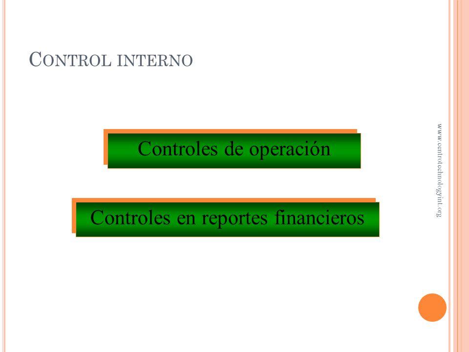 C ONTROL INTERNO ¿Qué es? Es el plan organizacional y todas las medidas relativas que una entidad adopta para… – Salvaguardar activos – Promover la ef