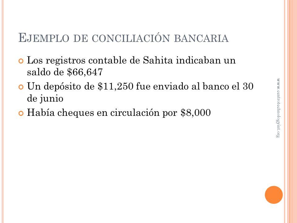 E JEMPLO DE CONCILIACIÓN BANCARIA El banco pagó el recibo de la energía eléctrica de la compañía por $1,500 El banco devolvió un cheque por la cantida