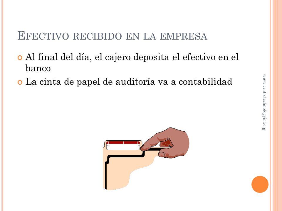 E FECTIVO RECIBIDO EN LA EMPRESA La caja registradora debe mostrar la cantidad digitada La caja registradora sólo deberá abrirse cuando se realiza alg