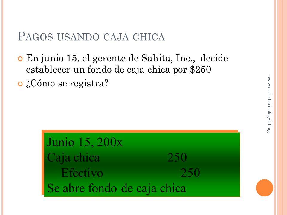 C ONTROL DE LA AUTORIZACIÓN DE PAGOS El departamento de contabilidad... – Obtiene todos los documentos – Revisa su exactitud – Envía el paquete de pag